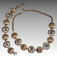 50's Schiaparelli Aura Borealis Chaton Cut Rhinestone Ribbed Necklace Set