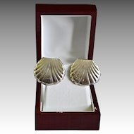Los Ballesteros Large Mexican Sterling Shell Earrings.