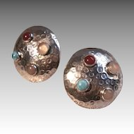 Embellished Mexican Hammered Sterling Dome Earrings