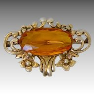 Vintage Sterling Gilt Art Nouveau Style Brooch Amber Glass Center