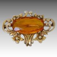 Vintage Sterling Gilt Art Nouveau Style Brooch Amber Glass Center