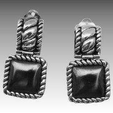 Contemporary Sterling Silver Hematite Braided Rope Mounting Drop Earring.