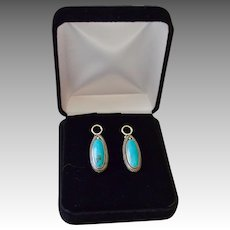 Navajo Signed Kingsman Natural Turquoise Sterling Silver Drop Earrings