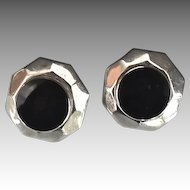 Sterling Silver Onyx Octagon Shaped Button Style Earrings