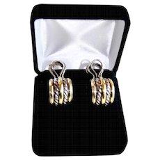 Classic Yurman Double Cable Sterling 18K Gold J-Hoop Earrings