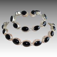 Taxco Mexico Artisan Black Onyx & Sterling Silver 3-Piece Set