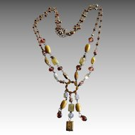 Vintage 14K Gold Plated Multi-Gemstone Lariat Tassle Necklace