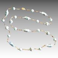 Vintage 12K Gold Plate Millefiori Venetian Glass Necklace
