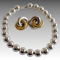 Vintage Dramatic Jumbo 15mm Sterling Silver Bead Necklace Mexico