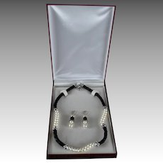 Classic Honora Cultured Freshwater Pearls Necklace with Leather Sterling Accent