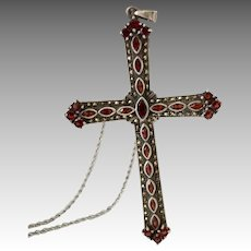 "5"" Inch Sterling Silver Garnet Marcasite Ornate Cross Pendant Necklace"