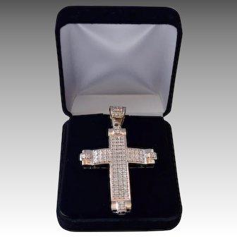 Sterling Silver / 10K Gold Jumbo 1.0 Carat Diamond Studded Cross Pendant