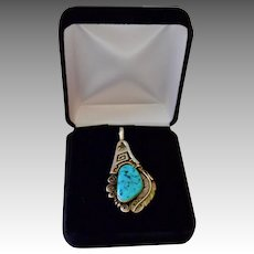 Chunky Navajo Signed Artisan Kingsman Turquoise Nugget Sterling Pendant
