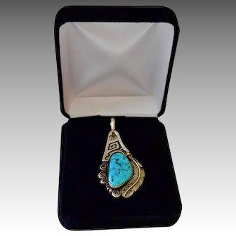 Chunky Navajo Signed Artisan Kingsman Turquoise Nugget Sterling Pendant