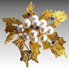 Tiffany 18K Gold Ceylon Blue Sapphire & Cultured Pearl Evening Brooch