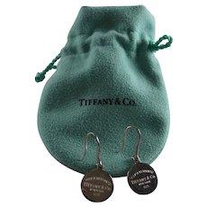 Tiffany & Co Sterling Silver Return To Logo Drop Earrings