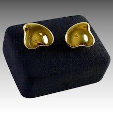 Tiffany & Co 18K Gold Large Size Puffy Heart Earrings