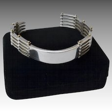 Sterling Silver 18K Gold Gate-Link ID Style Bracelet Signed