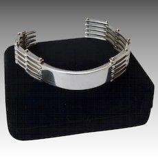 Sterling Silver 18K Gold r Gate-Link IDS Style Bracelet Signed