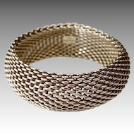 Classic Tiffany Sterling Wide Chunky Mesh Style Cuff Bracelet
