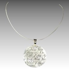 Tiffany Sterling Mother of Pearl Notes Pendant Necklace