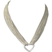 Tiffany Sterling Silver Multi-Chain Open Heart Necklace