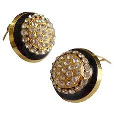 Designer VALENTINO Crystal Black Enamel Gold Plated Earrings