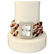 Geneva Modernist Bracelet Fashion Watch Double Link Lucite Chain