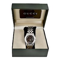 Gucci 5500XL Stainless Steel Black Dial Diamond Watch