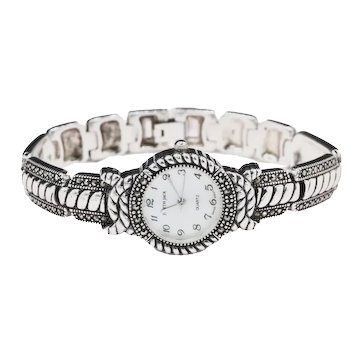 Vintage Judith Jack Sterling Silver Marcasite Bracelet Watch