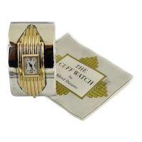 Vintage Art Deco Revival  Sterling 22K Gold-Plate Alfred Durante Watch