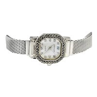 Vintage Judith Jack Sterling, Stainless Marcasite Hexagon Designer Watch