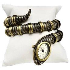 Kenneth Jay Lane Python Bronze-Gold Tone Bracelet Watch