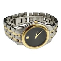 Vintage Movado Museum Unisex Two-Tone Quartz Bracelet Watch