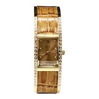 Kenneth Jay Lane Faux-Alligator Crystal Clamp Bracelet Watch