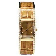 Kenneth Jay Lane Faux-Alligator Crystal Clamp Bracelet Watch