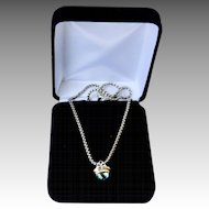 Blue Topaz 14K Gold Sterling Acorn Pendant Necklace