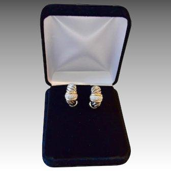 0.72 Carat Diamond 18K Sterling Large J-Hoop Earrings Yurman