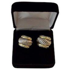 Classic 14K Gold Sterling Cable J Hoop Pierced Earrings Yurman