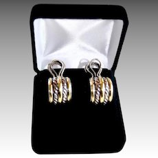 Classic Yurman Double Cable 18K Sterling Large J Hoop Earrings