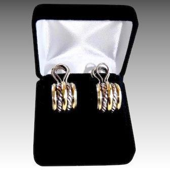 Classic Yurman Double Cable 18K Sterling Large J Hoop Earrings
