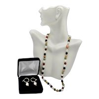 Single Strand Multi-Colored Dyed Jadeite 7mm Bead Necklace Earrings
