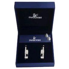 Luxury Swarovski Rhodium Plated Pave Crystal Channel Set Hoop Earrings