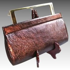 Exquisite Lalique Crystal Pearlized Burgundy Leather Handbag