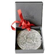 Vintage Lalique 1997 Reindeer Crystal Noel Ornament Signed