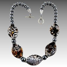 Speckled Agate / Hematite Highly Polished Artisan Stone Necklace