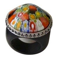 Millefori Thousand flowers Murano Venetian Glass Designer Ring