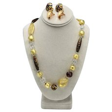 Ca'D'Oro Murano Glass 24K Infused Gold Necklace & Earrings set