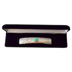 Navajo Artisan Mabel Keel Sandcast Silver Turquoise Barrette