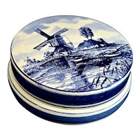 Delft Holland Porcelain Dresser Jar Large Blue White Jewelry Accessory